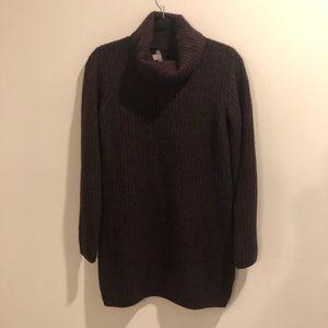 J Jill  sweater Cowlneck cotton wool dark purple